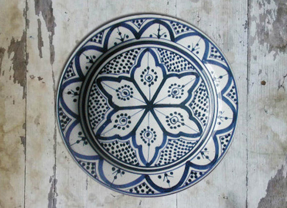 Blue Moroccan Ceramic Wall Hanging Plate
