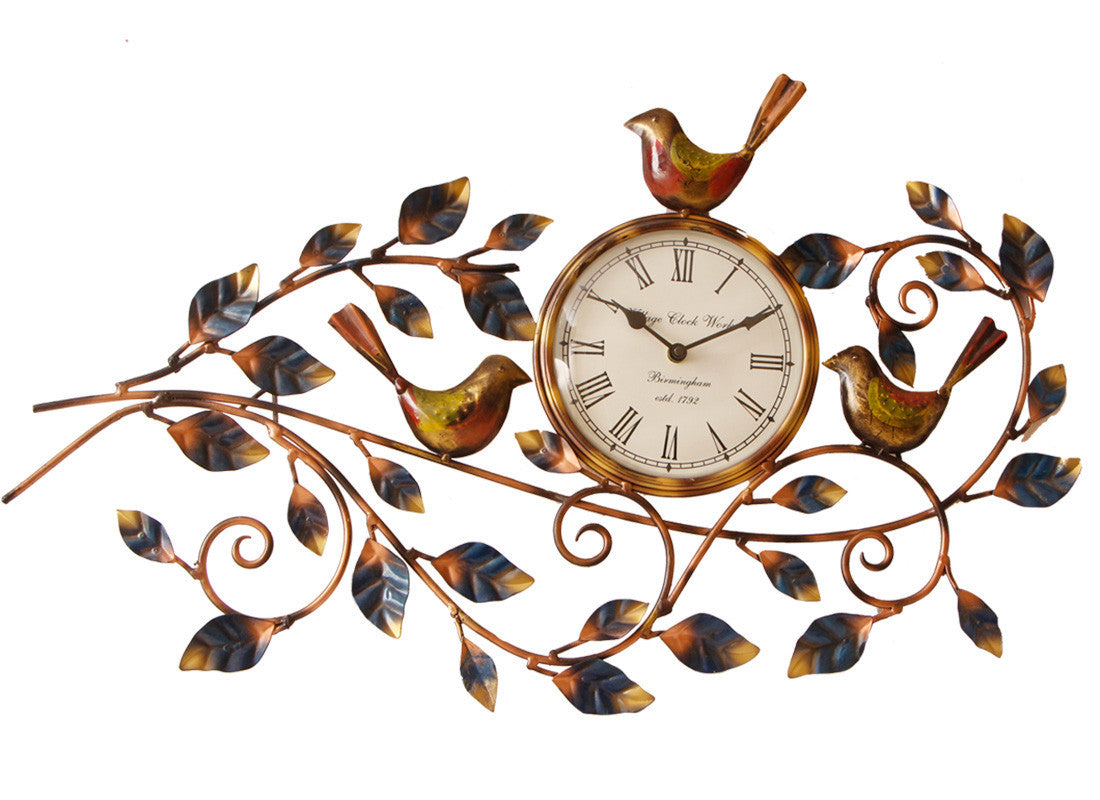 Metal Handcrafted Leaf Wall Clock Art