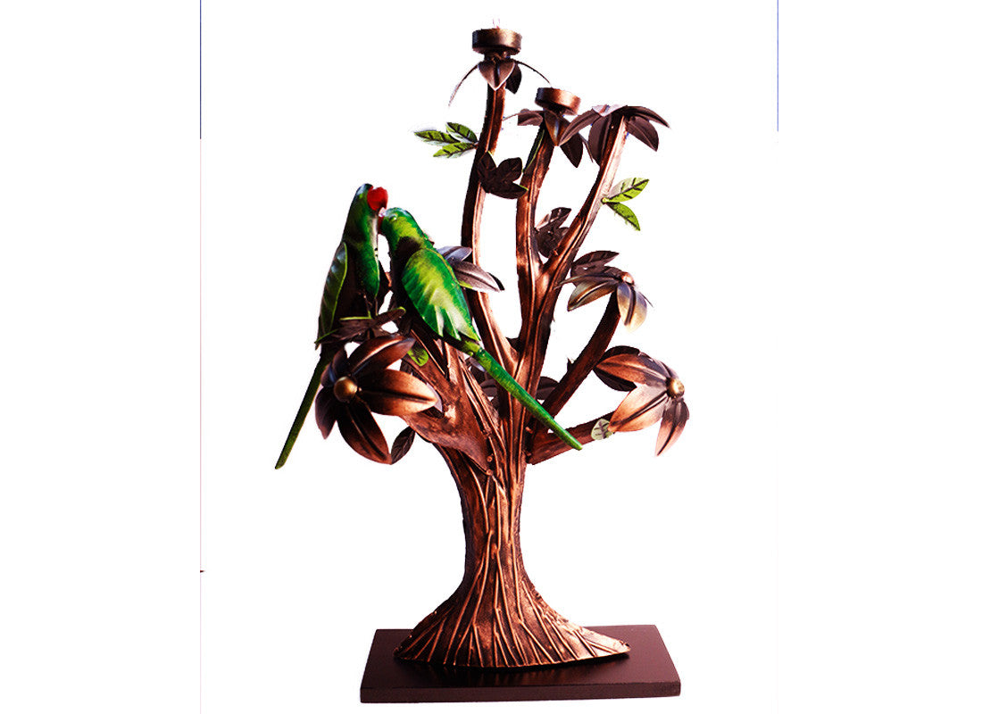 Metal tree with parrot design