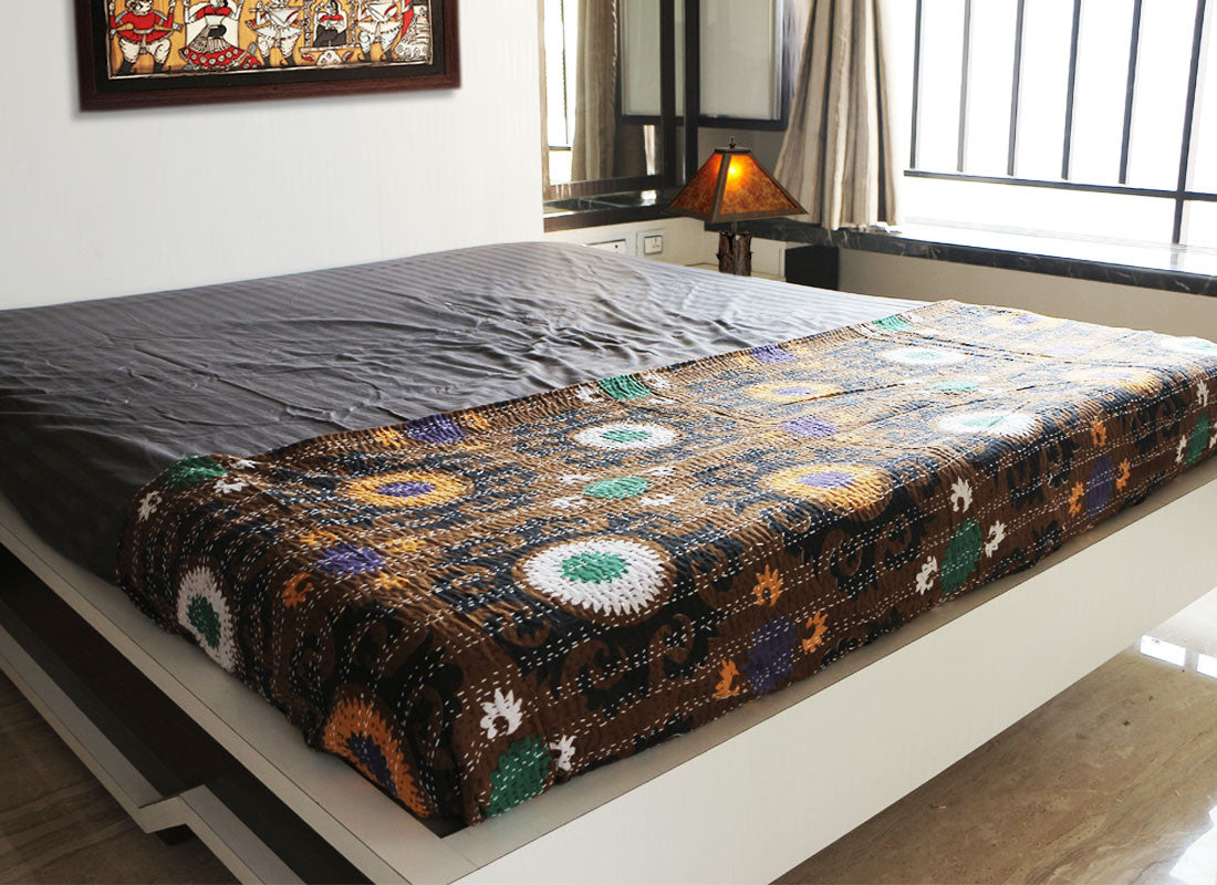 Multicolor cotton handcrafted Kantha bed sheet