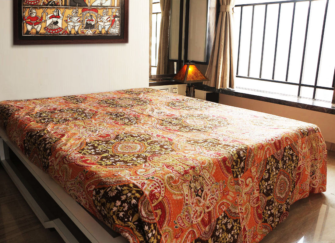 Handmade bed sheets design - Ethnic Multicolor Bed Sheet Rajasthani Kantha Work D Cor Design Craftedindia