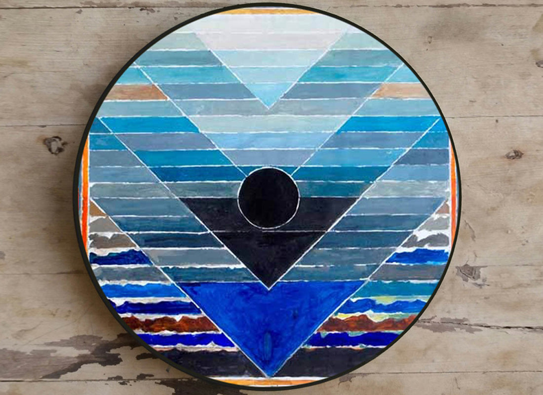 """Shades of Blue"" Ceramic Wall Hanging Plate"
