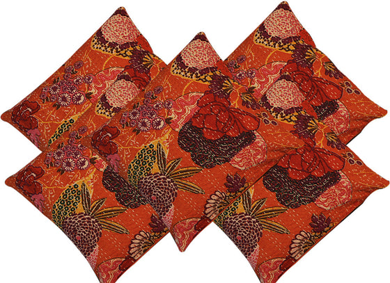 Orange Floral Print Cushion Covers