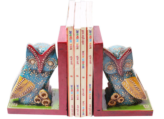 Owl design hand painted bookend