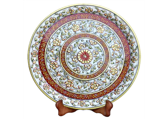 Exotic Jaipur Makrana Marble Table Plate Decor