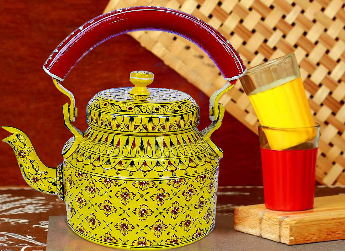 Buy Ethnic Design Yellow Tea Kettle at Lowest Rates On Craftedindia.com
