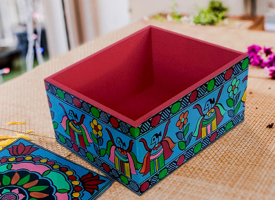 Multicolor Floral Design Wooden Jewellery Box