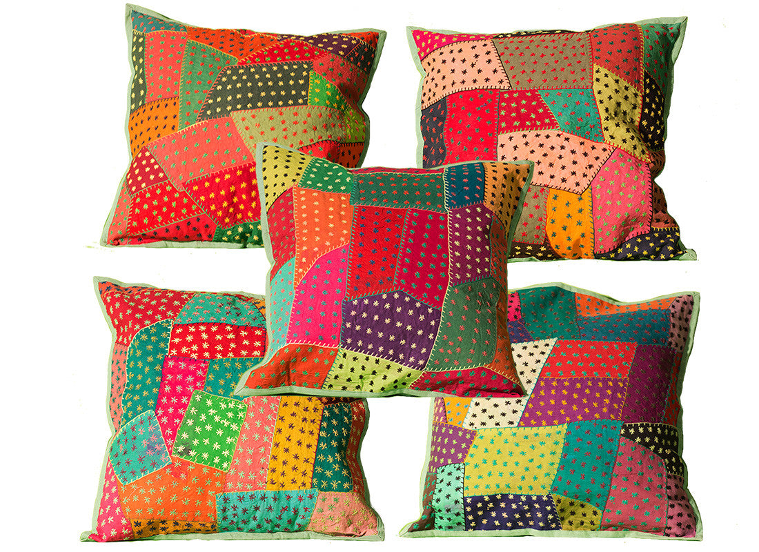 Patchwork dotted cushion cover