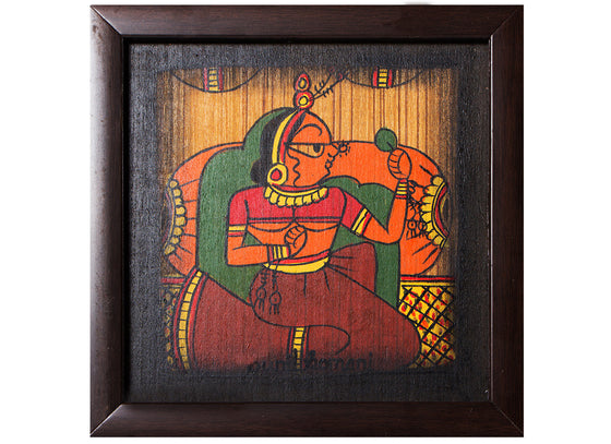 Ethnic Lady Phad Painting Canvas Wall Frame