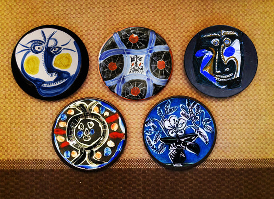 Picasso art blue wall plates are hand-painted