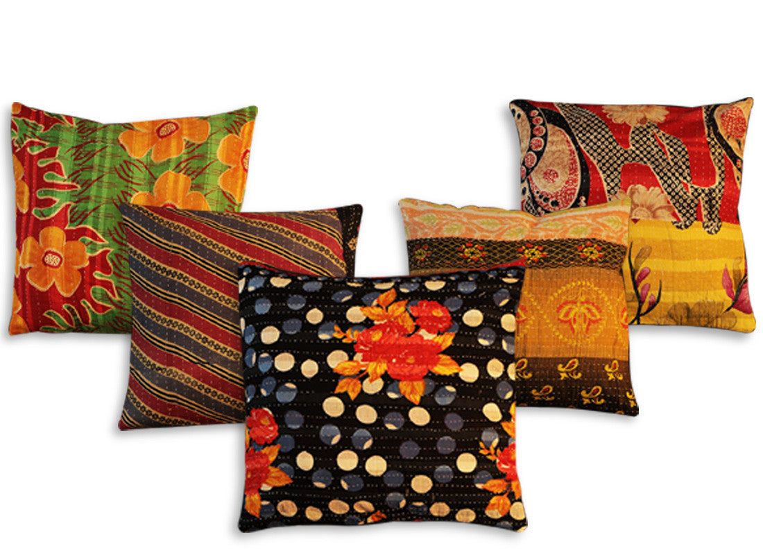 Rajasthani Kantha cotton cushion designer cover
