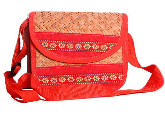 Red color sling handcrafted handbag