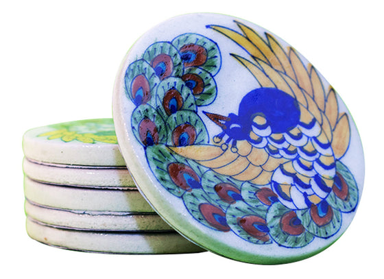 Royal peacock design coaster set