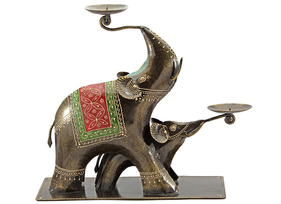 Elephant Design Tea Light Candle Holder Showpiece