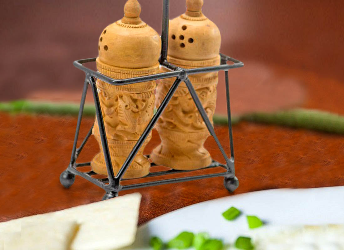 Carved Wooden Salt and Pepper Shaker Set
