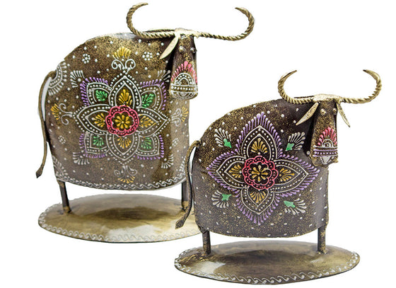 Ethnic Art Abstract Cow Showpiece Set of 2