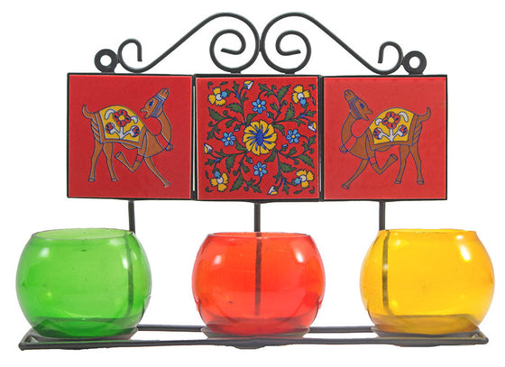 Ceramic & Multicolor Glass Tea Light Candle Holder