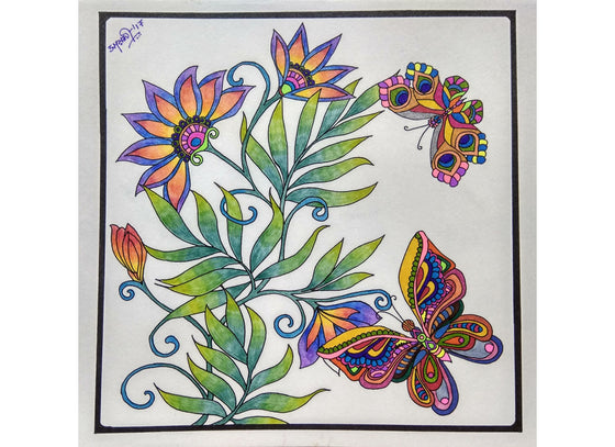 Floral handpainted in doodle art