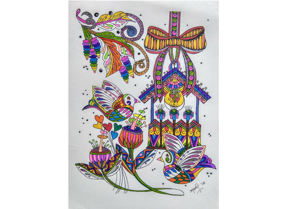 Abstract bird painted in doodle art