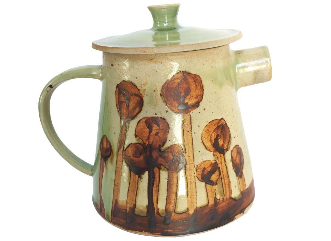 Antique Hand-Painted Ceramic Kettle