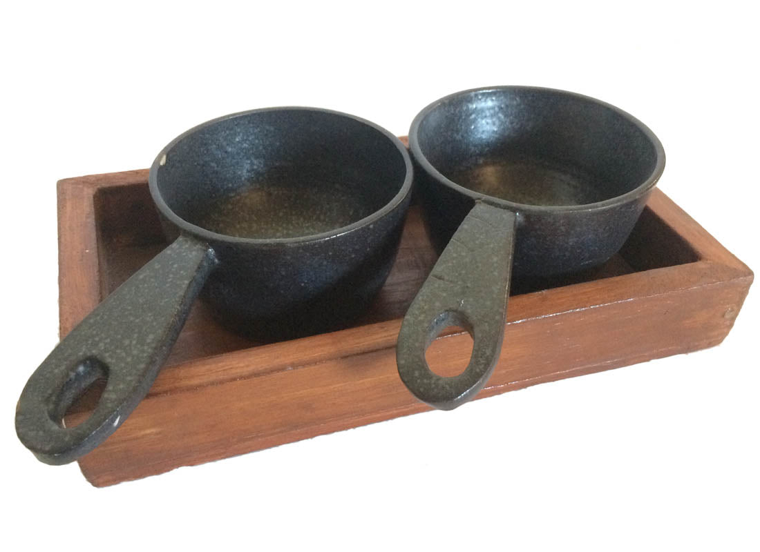 Ceramic Serving Bowl with Wooden Tray Set