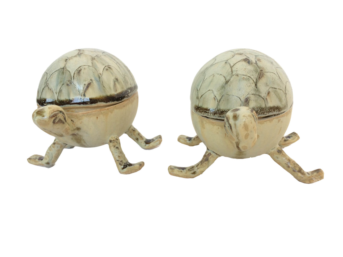 Handmade Ceramic Good luck Turtle Showpiece Set of 2