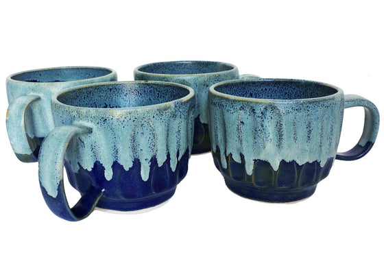 Designer Blue Ceramic Mug Set of 4