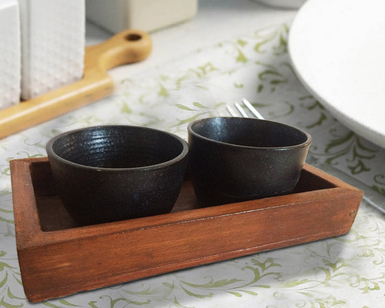 Black Ceramic Bowl Set with Wooden Tray