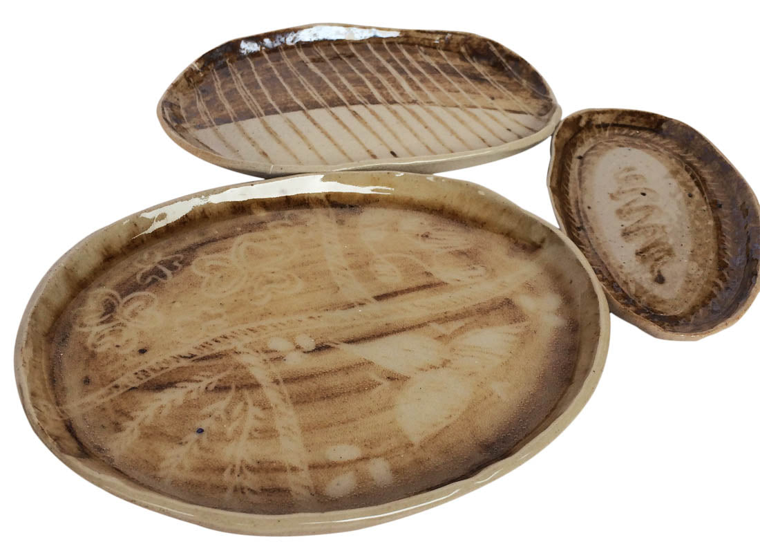 Contemporary Style Ceramic Serving Platter Set of 3