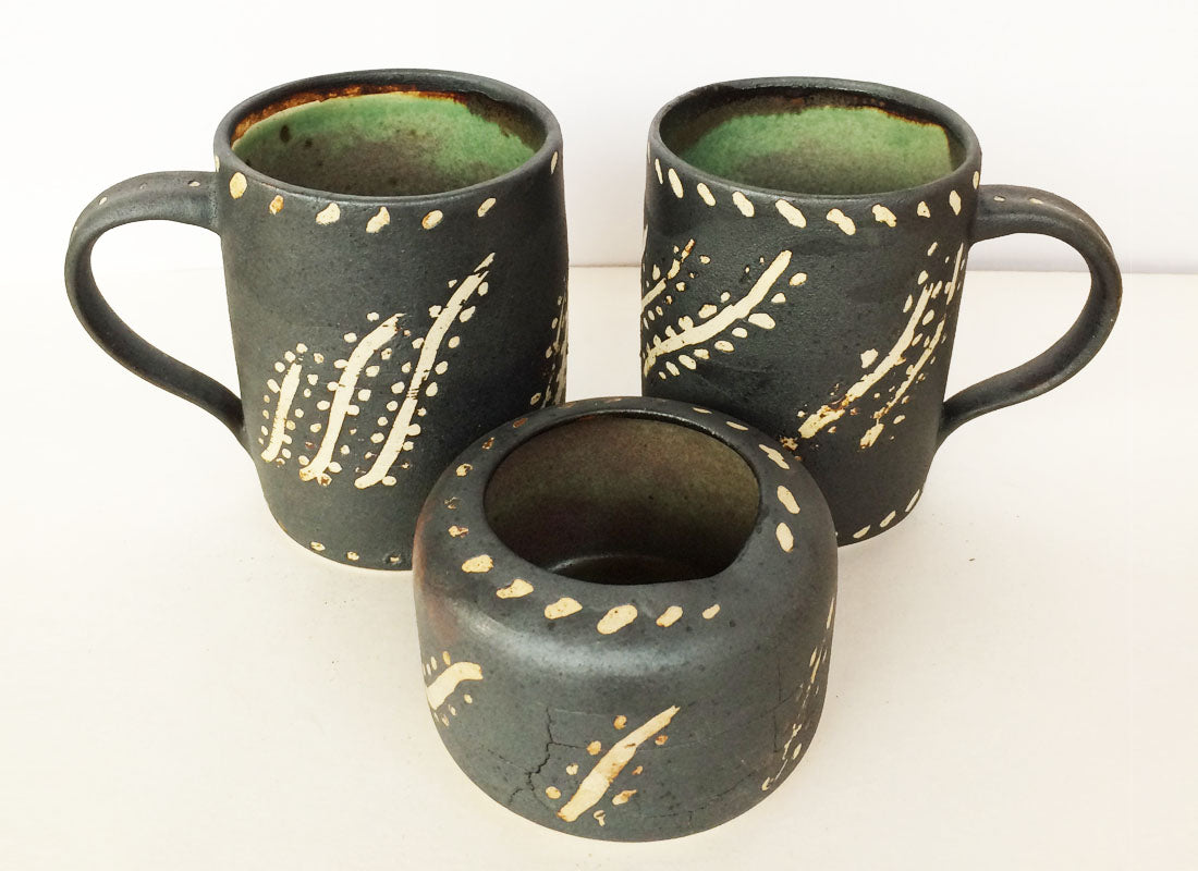Ceramic Fancy Beer Mugs And Ashtray