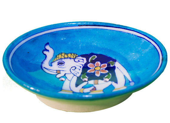Sky-blue elephant motif soap dish