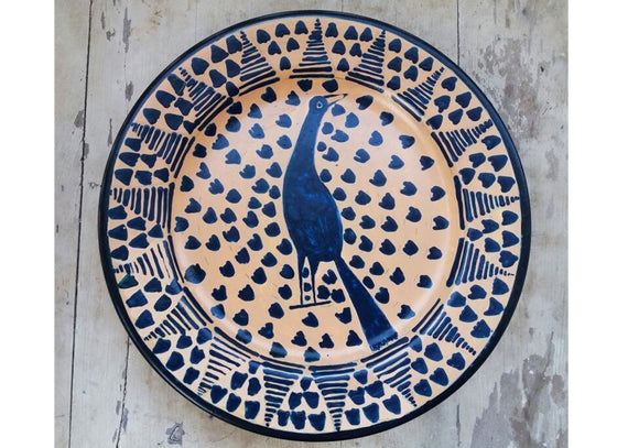 Spanish peacock blue wall plate