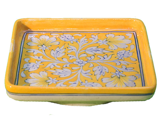Square floral design serving tray