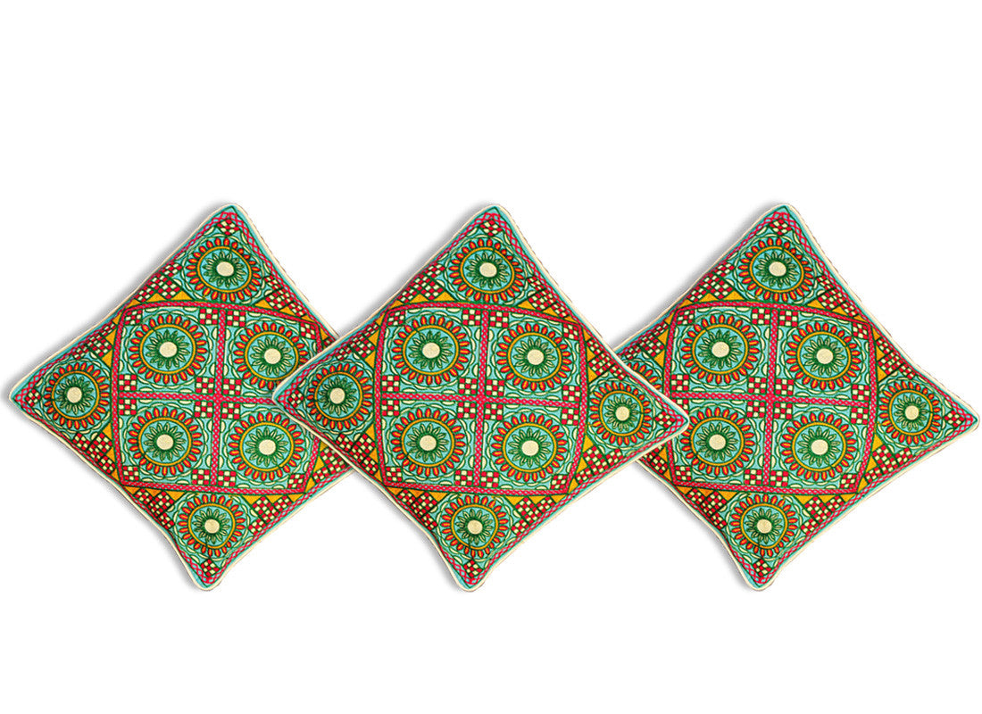 Square kantha embroidery cushion covers