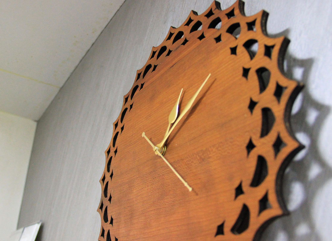 Carved Designer Pine Wood Clock