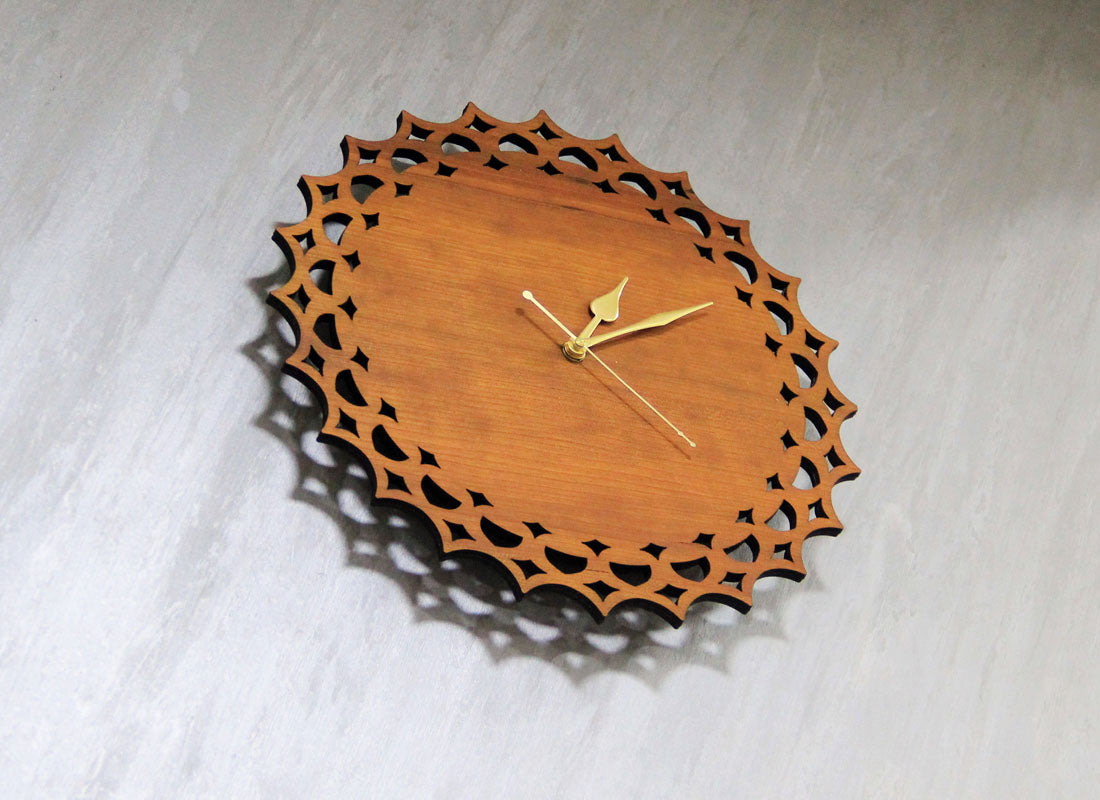 Carved Designer Pine Wood Wall Clock