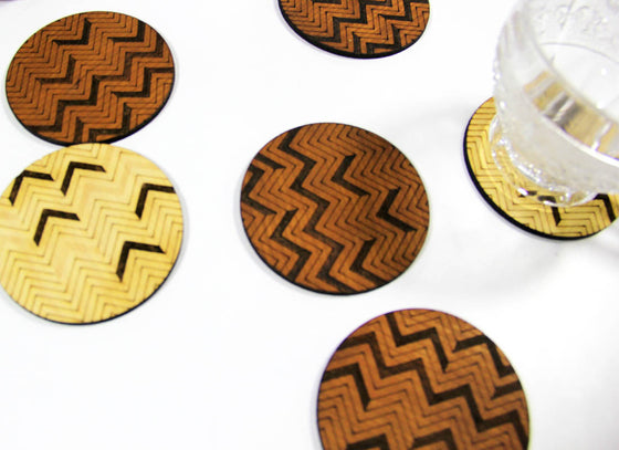 Quirky Carved Wooden Coaster Set of 6