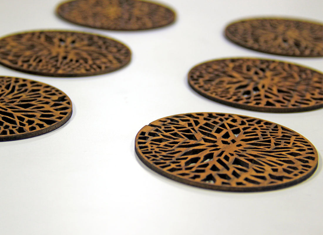 Hand carved Coaster Set of 6