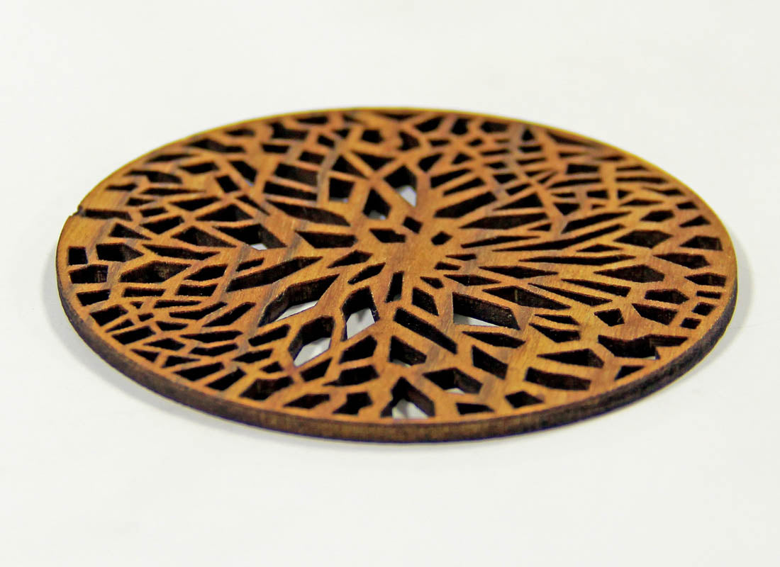 Hand carved Pine Round Coaster Set of 6