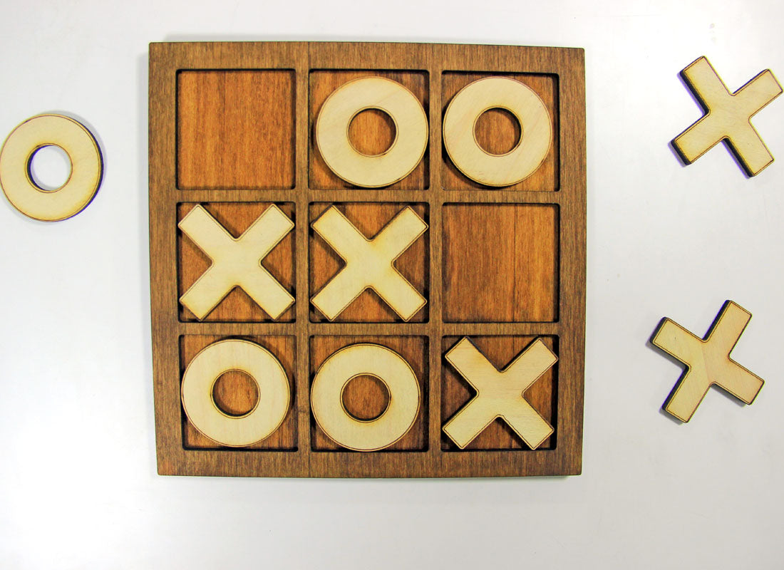 Handcrafted X and 0 Wooden Board Game Set