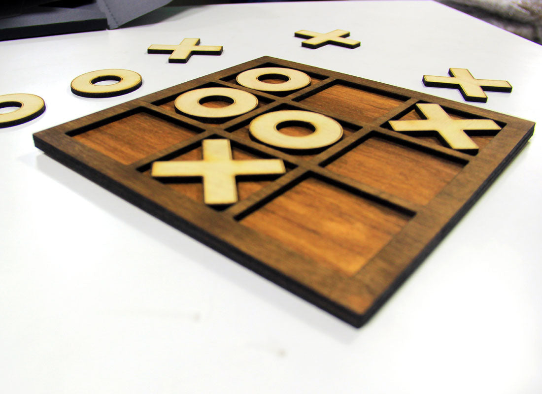 Handcrafted X and 0 Wooden Board