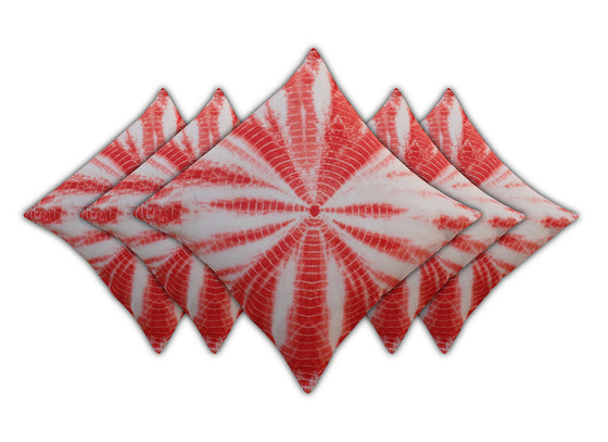 Tie-n-dye red color cushion covers