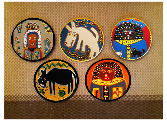 Tribal African design wall plates