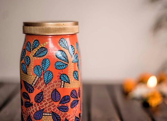 Indian Gond Art Design Mason Glass Jar