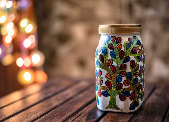 Tree Of Life Hand-painted Cookie Jar