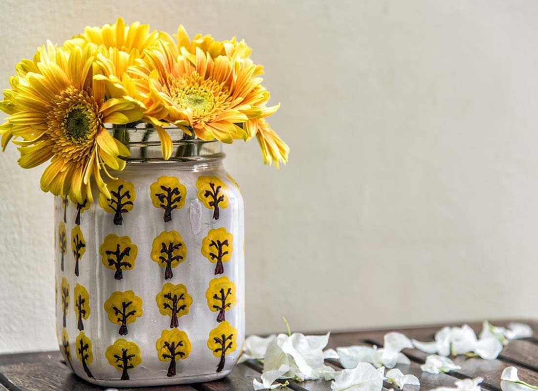 Hand-painted Floral Design Glass Jar Vase