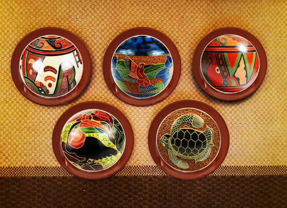 Colorful Costa Rican Ceramic Wall Plate Set