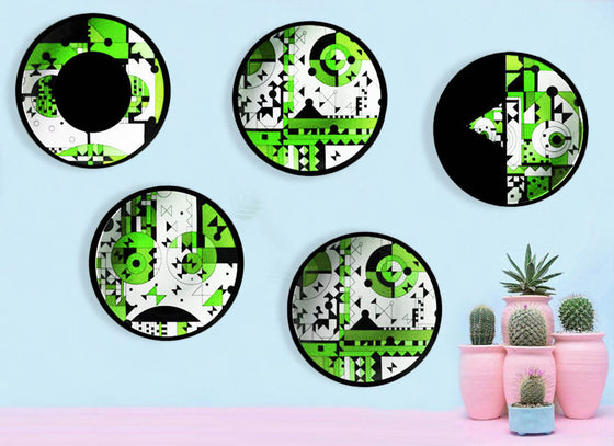 Décor Ceramic Forest Jigsaw Plate Set Of 5