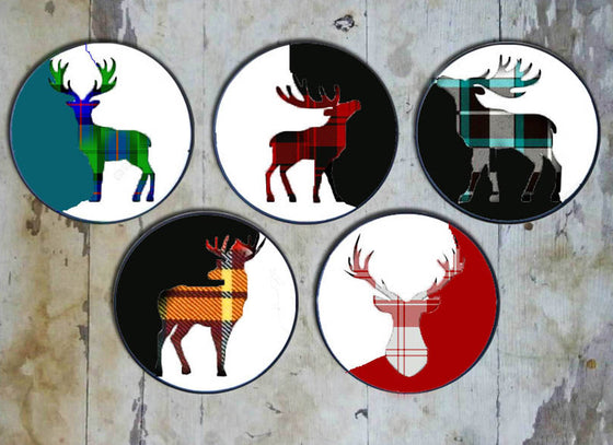Abstract Reindeer Christmas Wall Decor Plates