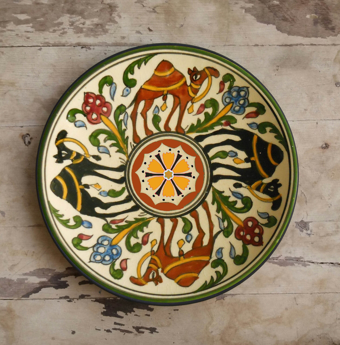 Hand-painted Arabian Ceramic Wall Décor Plate